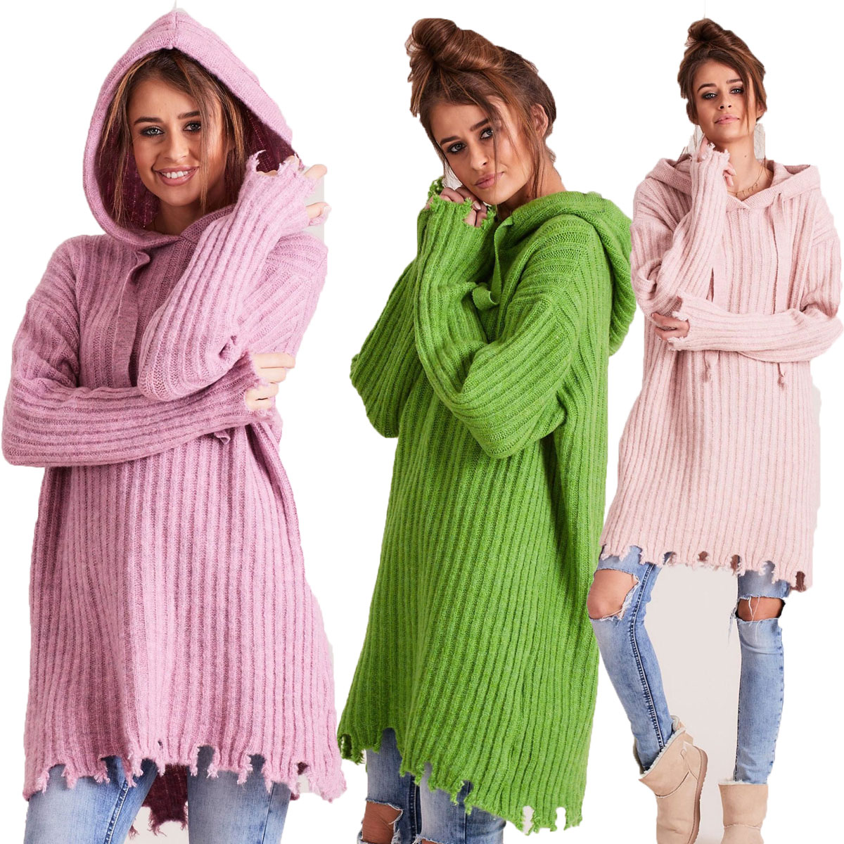 Teplý pletený svetr s kapucí - vlna a moher JK14 HANNA - fashionweek ... cb1bf4587a