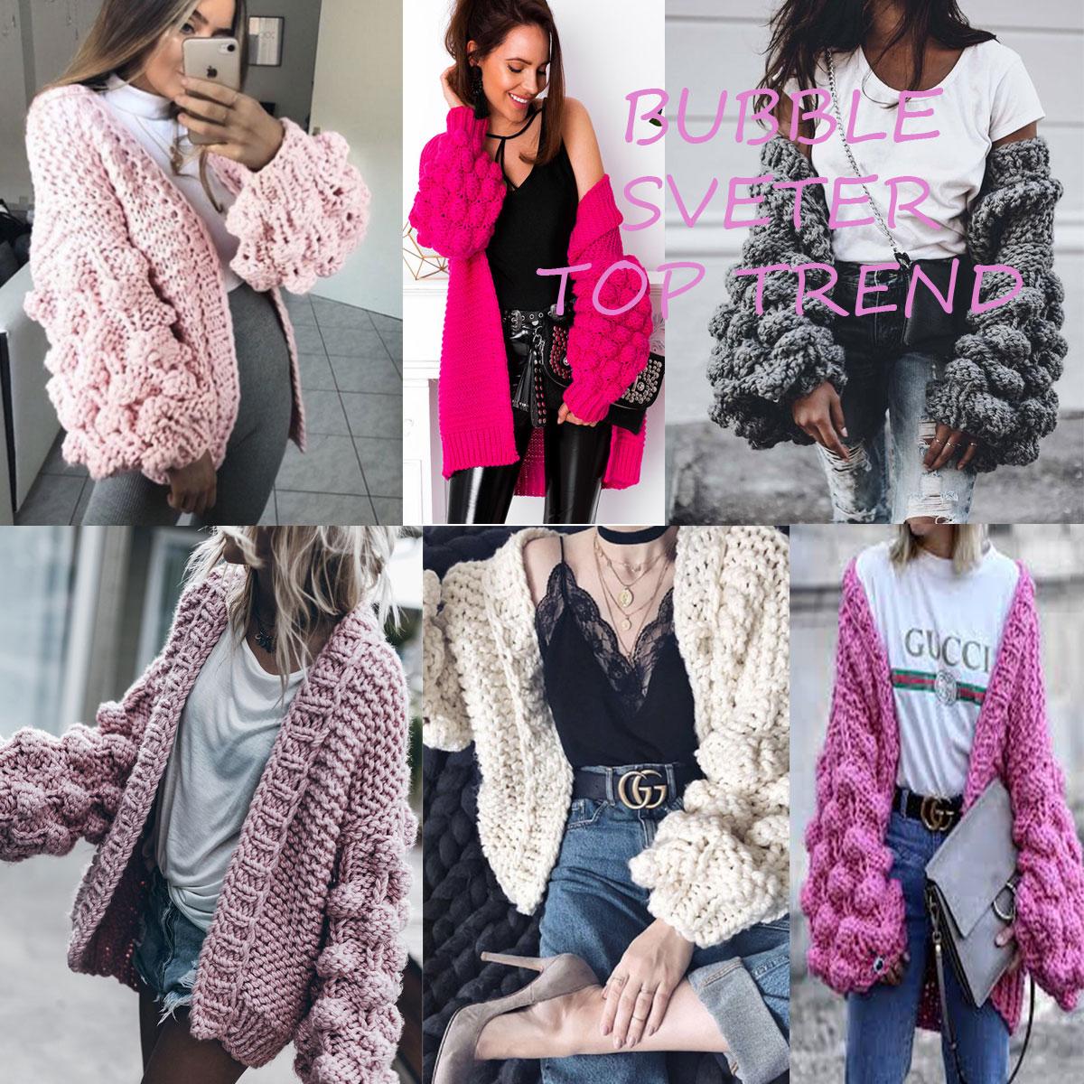 Dámský luxusní pletený svetr jak sako nezapínací styl se super rukávy BUBBLE.  Svetr který si zamilujete- příjemný k nošení.Teplý 58daf1284b